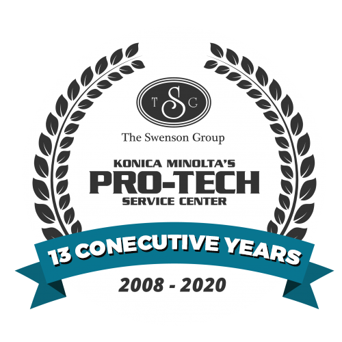 Konica Minolta Pro-Tech Service Center award to The Swenson Group for 13 consecutive years